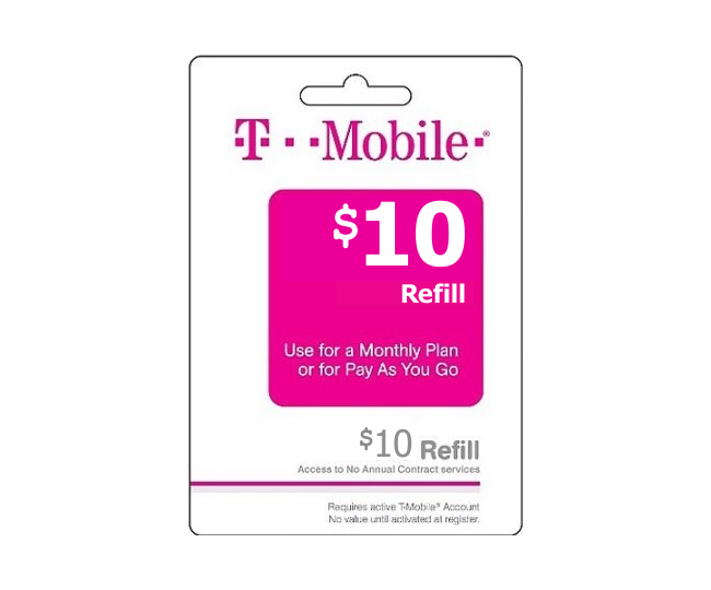 10 t mobile wireless prepaid phone card pay as you go for T mobile refill