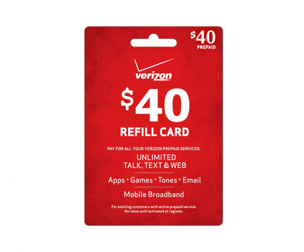 $40 Verizon Wireless Prepaid Phone Card | Pay As You Go | Instant Refill