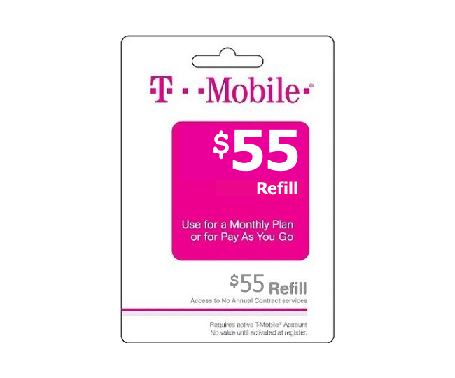 55 t mobile wireless prepaid phone card pay as you go for T mobile refill