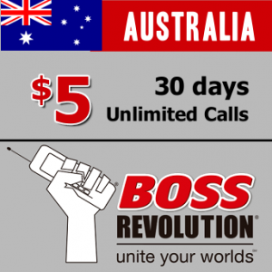 $5 unlimited calls to Australia BOSS Revolution